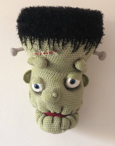 Huge Amigurumi Crochet Frankenstein Head Pattern Crafters Review for Cottontail and Whiskers by Emma Sargent